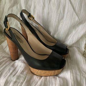Prada Cork Leather Slingback Heels